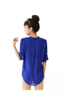 V-Neck Long Sleeve Shirt (Blue) - picture 2