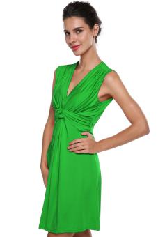 V Neck Mini Dress (Green) - picture 2
