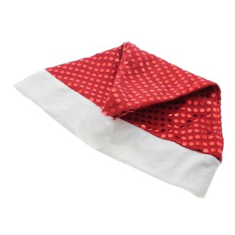 Vanker Fashion Paillette Decoration Christmas Cosplay Santa's Party Happy Soft Warm Hat Cap (Red) - picture 2