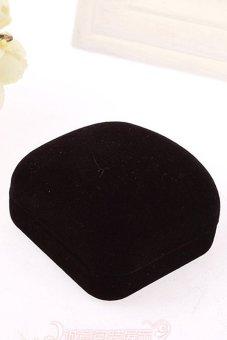 Velishy Square Black Velvet Ring Box Black - picture 2