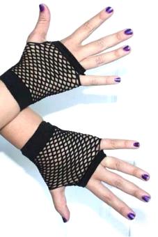 Velishy Women Gloves Lace Fishnet Fingerless Black