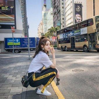 VENFLON Women Korean Sport Street Applique Letter Print Patch Elastic Long Pant jogger sweatpants (Black) - 3