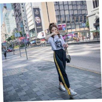 VENFLON Women Korean Sport Street Applique Letter Print Patch Elastic Long Pant jogger sweatpants (Black) - 5