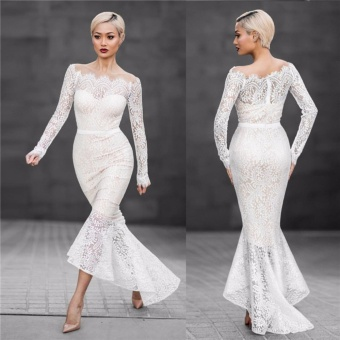 VENFLON Women sexy off shoulder Lace mermaid Wedding dress LadiesBridesmaid party Midi Dresses Bridal gowns High Quality (white) -intl - 2