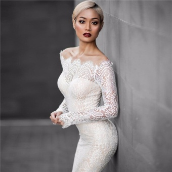 VENFLON Women sexy off shoulder Lace mermaid Wedding dress LadiesBridesmaid party Midi Dresses Bridal gowns High Quality (white) -intl - 4