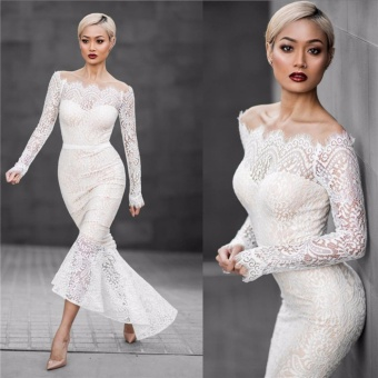 VENFLON Women sexy off shoulder Lace mermaid Wedding dress LadiesBridesmaid party Midi Dresses Bridal gowns High Quality (white) -intl