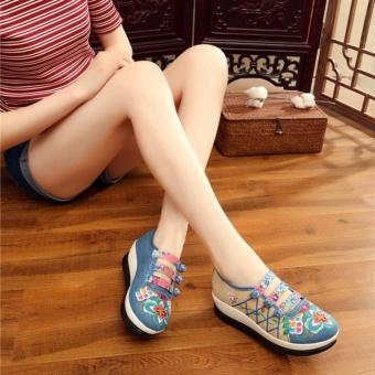 Veowalk Floral Embroidered Women Linen Canvas Slip-ons PlatformsShoes Blue - intl - 4