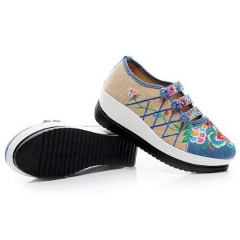 Veowalk Floral Embroidered Women Linen Canvas Slip-ons PlatformsShoes Blue - intl - 5