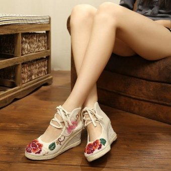 Veowalk Flower Embroidered Asian Women Casual Canvas 5cm Mid Heels Wedges Platforms Lace up Ladies Cotton Pump Shoes Beige - intl - 2