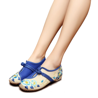 Veowalk Flower Embroidery Women Casual Cotton Flats Shoes Slip onChinese Style Old Beijing Ladies Autumn Mid Top Canvas BalletsWhite - intl Price Philippines