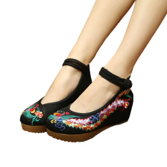Veowalk Peacock Embroidery Women's Casual Platform Shoes CottonBuckles Old Beijing 5cm Mid Heels Ladies Canvas Wedges Pumps Black- intl Price Philippines