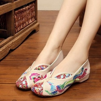 Veowalk Vintage Women Embroidered Linen Canvas Ballet Flats LadiesOld Beijing Shoes Beige - intl