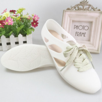 Versatile female flat gel shoes sandals (White)