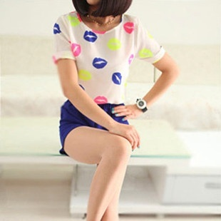 Versatile New style breathable short sleeved chiffon shirt (Multi-color lipstick) (Multi-color lipstick)