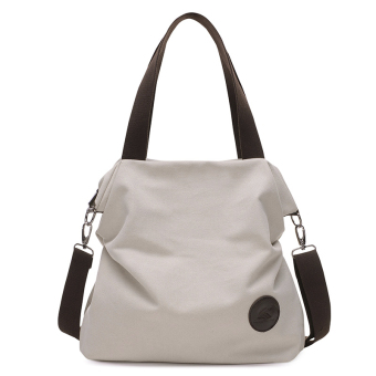 Versatile New style female shoulder bag casual canvas bag (Off-white color)