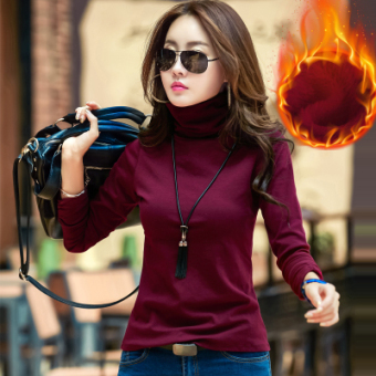 Versatile Plus velvet Slim fit piles collar shirt Qiudong high collar bottoming shirt (Wine red color [Plus velvet thick])