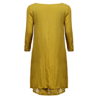 Vestidos 2016 Women Autumn Dress Fashion Plus Size Elegant Loose Full Sleeve V Neck Dress Casual Solid Cotton Linen Boho Long Maxi Dress Yellow - 4