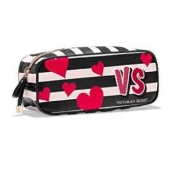 Victoria's Secret Black White Stripe Red Heart Makeup CosmeticPouch Bag 0.1kg