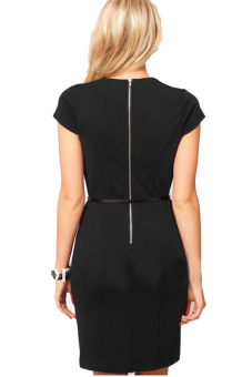 Vintage Bodycon Women Midi Work Pencil Dress (Black) - picture 2