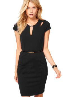 Vintage Bodycon Women Midi Work Pencil Dress (Black)