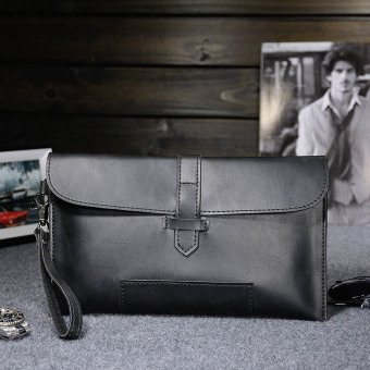 Vintage Casual Men Wallets Crazy Horse Genuine Leather Mens Clutch Bag Purse Small Handbags Black