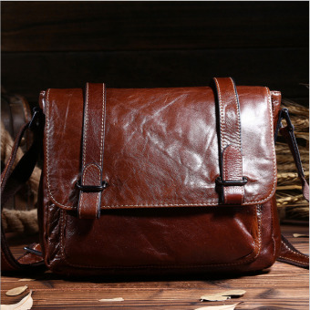 Vintage genuine crazy horse leather Men's messenger bag shoulder bag cross body bag - intl