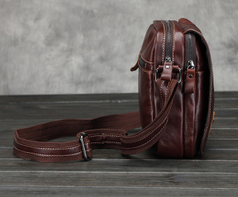 Vintage genuine crazy horse leather Men's shoulder bag cross body bag - intl - 4