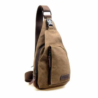 Vintage Men's Chest Canvas Messenger Bag - Coffee Price Philippines