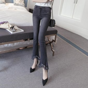 Vintage Skinny Flared Jeans For Women High Waist Bell Bottom JeansDenim Pants -Black - Intl - 4