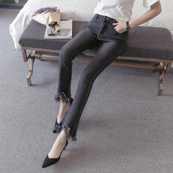 Vintage Skinny Flared Jeans For Women High Waist Bell Bottom JeansDenim Pants -Black - Intl - 3