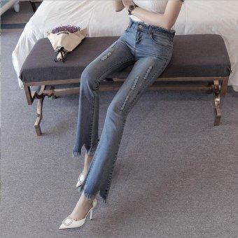 Vintage Skinny Flared Jeans For Women High Waist Bell Bottom JeansRipped Denim Pants -Light blue - Intl - 3