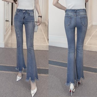 Vintage Skinny Flared Jeans For Women High Waist Bell Bottom JeansRipped Denim Pants -Light blue - Intl