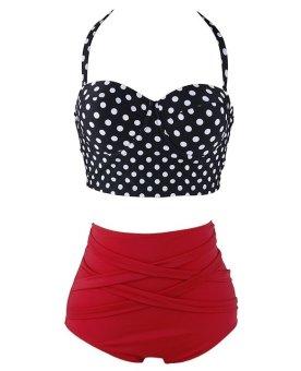 Vintage Style Retro Polka Dot High Waist Sexy Bikini Swimsuit (Intl) - 2