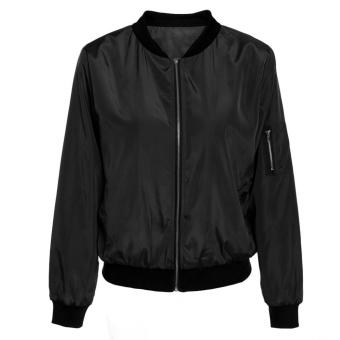 Vintage Zip Up Classic Padded Bomber Jacket Biker Coat (Black) -intl - 2