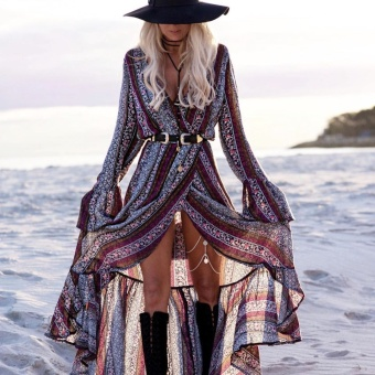 Viscose V-neck Beach Cover Long Sleeve Dress Bohemian Style Long Skirt Grey and Purple