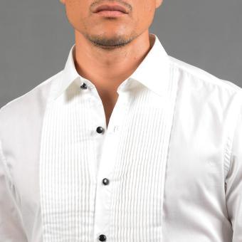 WALLSTREET WBL2525 Fitted Woven Long Sleeve Tuxedo Shirt [White] - 5