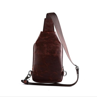 Waterproof Crossbody Bags Shoulder Bags for Men PU Leather Chest Sling Pack One Single Shoulder Man Casual Travel Messenger Bag ( Coffee )17x3x24cm - intl - 4