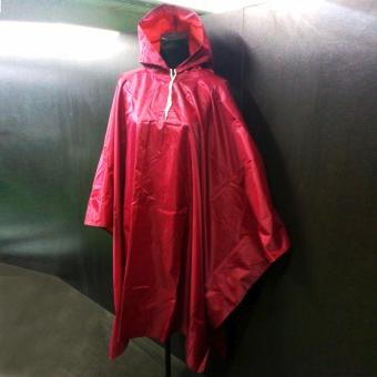 Waterproof Vinyl Raincoat Poncho Open Sided (Red) -10885