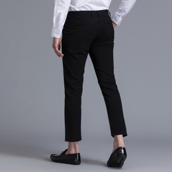 Weargen Brand Mens Classic Design Formal Business And Casual PencilSuits Pants Slim Fit For Wedding And Office Dress PantsSY-9809-Black - intl - 3