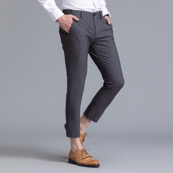 Weargen Brand Mens Classic Design Formal Business And Casual PencilSuits Pants Slim Fit For Wedding And Office Dress PantsSY-9809-Grey - intl - 2