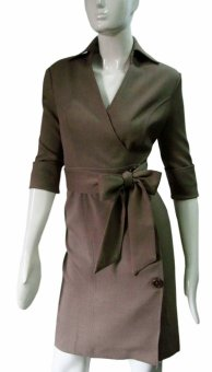 Well Suited Quarter Sleeve Suit Dress (Mocha Brown)
