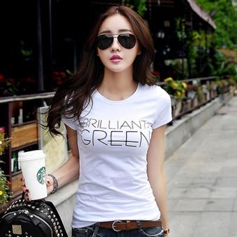 White Summer Slim fit Korean-style bottoming shirt Women's Top (White) (White)