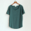 Wild ice silk cotton solid color round neck bottoming shirt (Dark green color)