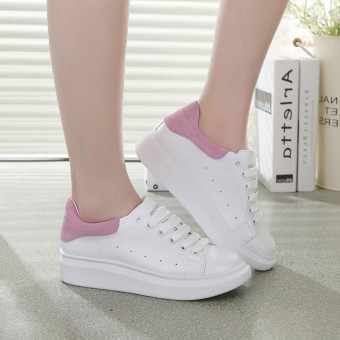 Philippines | Wild leather white female Korean-style casual shoes flat shoes (White + black) The best price