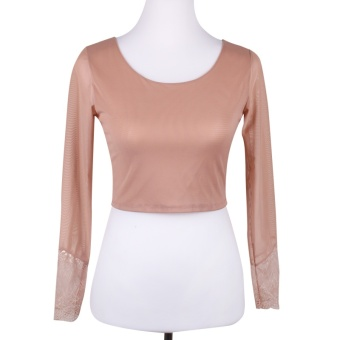 Wild mesh female thin short paragraph T-shirt bottoming shirt (Color [lace cuffs])