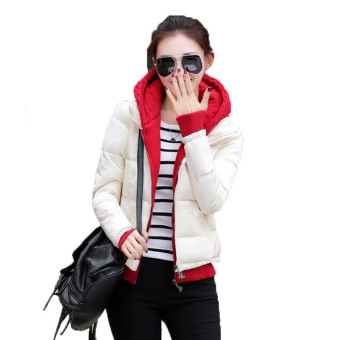 Winter Coat Slim Ladies Jackets Parkas Hooded Collar Women OutwearFemale Jacket Patchwork Cotton-padded Women's Clothing (White) -intl
