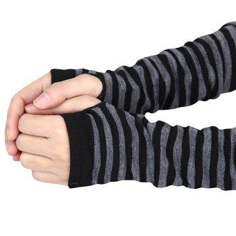 Winter Wrist Arm Hand Warmer Knitted Long Fingerless Gloves MittenBlack - 2