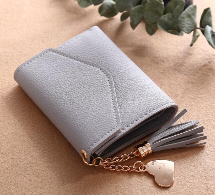 ... Woman Purse Tassel Pendant Litchi Pattern Money Wallet Card PurseWallet-light Grey - intl ...