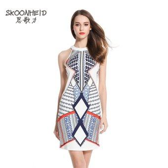 Woman Summer Multicolour Mini Fashion Print Dress - White - 2