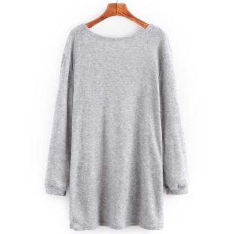 Woman Sweater Pocket Knit Cardigan Jacket-Black - intl - 2